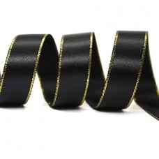15mm Gold Edge Ribbon - Black