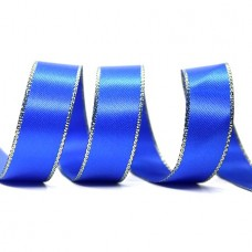15mm Gold Edge Ribbon - Electric Blue