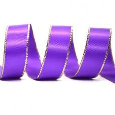 15mm Gold Edge Ribbon - Purple