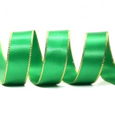 15mm Gold Edge Ribbon - Emerald
