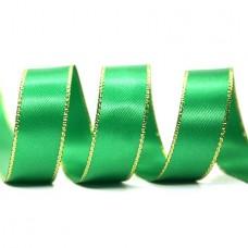 15mm Gold Edge Ribbon - Emerald