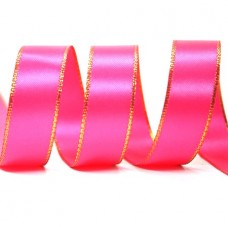 15mm Gold Edge Ribbon - Shocking Pink