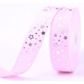 25mm Baby Pink Silver Star Ribbon