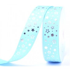 25mm Baby Blue Silver Star Ribbon