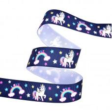 25mm Navy Unicorn Ribbon