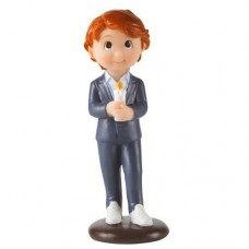 Communion Boy with Candle Cake Topper