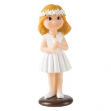 Blonde Communion Girl with Candle Cake Topper