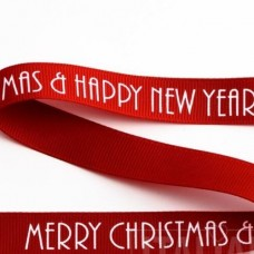 15mm Merry Christmas & Happy New Year Ribbon - 5m Roll
