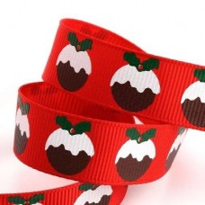15mm Christmas Pudding Ribbon - 5m Roll