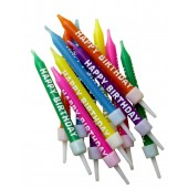 Multi Coloured Happy Birthday Candles Pk/12