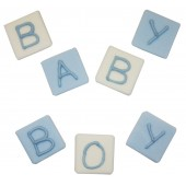 Blue Baby Block Sugarcraft Toppers Pk/7