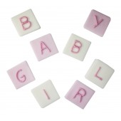 Pink Baby Block Sugarcraft Toppers Pk/8