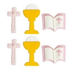 Decora Communion Girl Sugar Decorations Pk/6