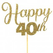 Gold Glitter Happy 40th Cake Topper - Card