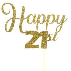 Gold Glitter Happy 21st Cake Topper - Card