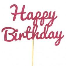 Ruby Rose Glitter Happy Birthday Cake Topper - Card