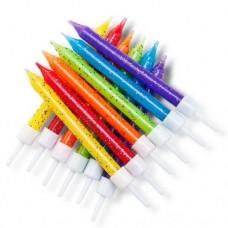 Glitter Rainbow Candles Pk/12