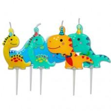 Cute Dinosaur Candles Pk5