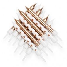 Gold Metallic Star Mix Candles Pk/12