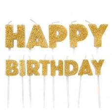 Happy Birthday Gold Glitter Candles