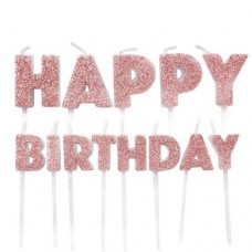 Happy Birthday Rose Gold Glitter Candles