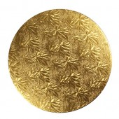 "Gold  8"" Round Double Thick Card"