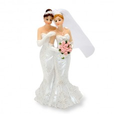 Female Couple Wedding Dresses Cake Topper