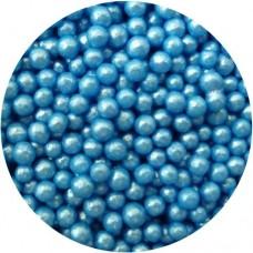4mm Vivid Blue Glimmer Pearls 80g