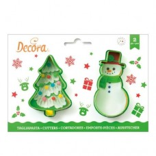 Decora Christmas Tree & Snowman Cookie Cutters