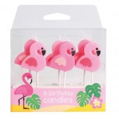 Flamingo Candles Pk/6
