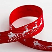 15mm Santa's Sleigh Ribbon - 5m Roll