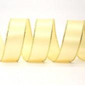 15mm Gold Edge Ribbon - Lemon