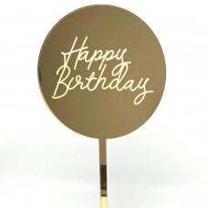 Gold Mirror Etched Happy Birthday Paddle - Acrylic