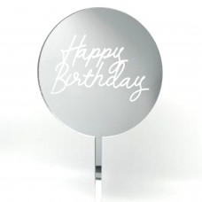 Silver Mirror Etched Happy Birthday Paddle - Acrylic