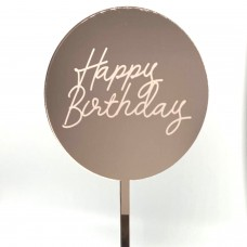 Rose Gold Mirror Etched Happy Birthday Paddle - Acrylic