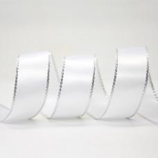 15mm Silver Edge Ribbon - White