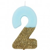 Blue Candle with Gold Glitter - 2
