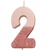 Rose Gold Dipped Glitter Candle - 2