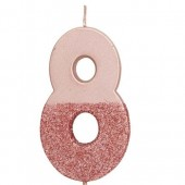 Rose Gold Dipped Glitter Candle - 8