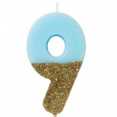 Blue Candle with Gold Glitter - 9