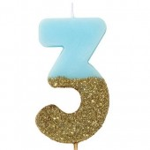 Blue Candle with Gold Glitter - 3