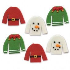 Christmas Jumpers Sugar Decorations Pk/6