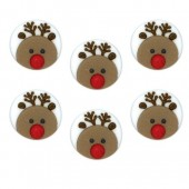 Christmas Reindeer Faces Sugar Decorations Pk/6