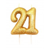 '21' Gold Glitter Candle