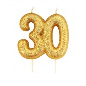 '30' Gold Glitter Candle