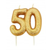 '50' Gold Glitter Candle