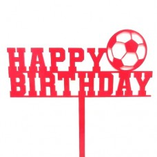 Red Football Birthday Cake Topper - Acrylic