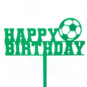 Green Football Birthday Cake Topper - Acrylic