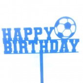 Blue Football Birthday Cake Topper - Acrylic