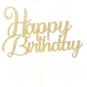 Gold Glitter Swirl Happy Birthday Cake Topper - Card